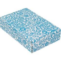24*16,5*6cm Desenli Kutu - Mavi - Thumbnail